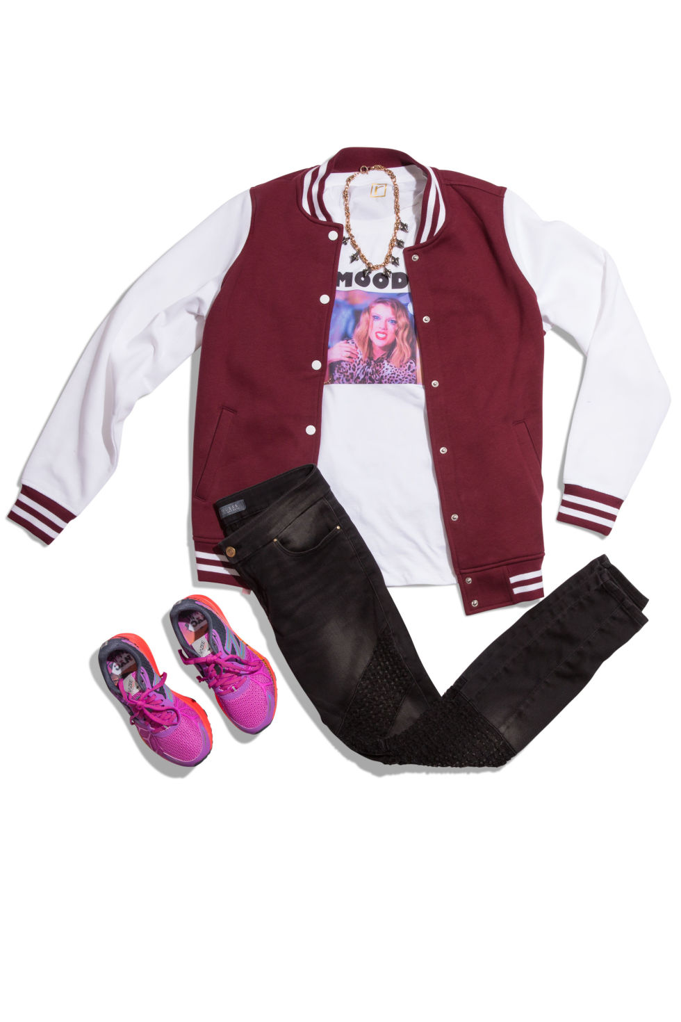 black-skinny-jeans-white-tee-burgundy-jacket-bomber-magenta-shoe-sneakers-howtowear-fashion-style-outfit-fall-winter-graphic-varsity-necklace-weekend.jpg
