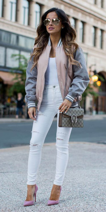 white-skinny-jeans-pearl-studs-pink-shoe-pumps-sun-pink-light-jacket-bomber-fall-winter-hairr-lunch.jpg