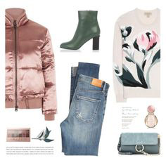 blue-med-skinny-jeans-white-sweater-graphic-green-shoe-booties-pink-light-jacket-bomber-green-bag-fall-winter-lunch.jpg