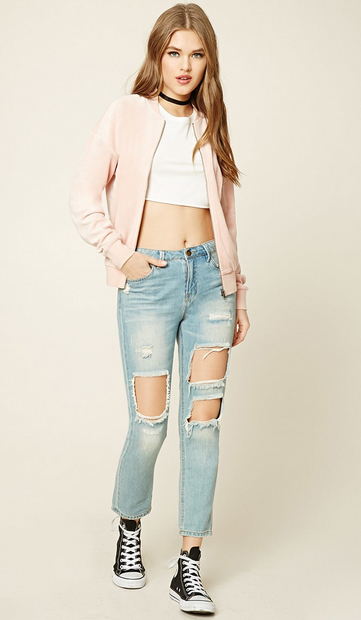 blue-light-skinny-jeans-white-top-crop-pink-light-jacket-bomber-black-shoe-sneakers-choker-forever21-howtowear-fashion-style-outfit-spring-summer-hairr-weekend.jpg
