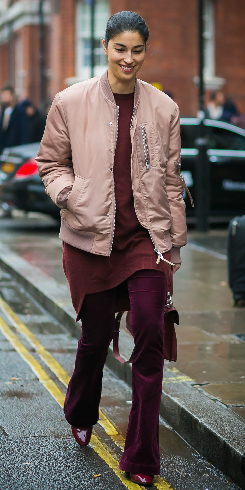 purple-royal-flare-jeans-burgundy-sweater-tunic-pink-light-jacket-bomber-brun-bun-burgundy-shoe-booties-tonal-fall-winter-lunch.jpg
