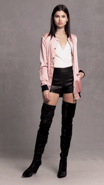 black-shorts-white-top-blouse-pink-light-jacket-bomber-black-shoe-boots-overtheknee-forever21-choker-howtowear-fashion-style-outfit-spring-summer-brun-dinner.jpg