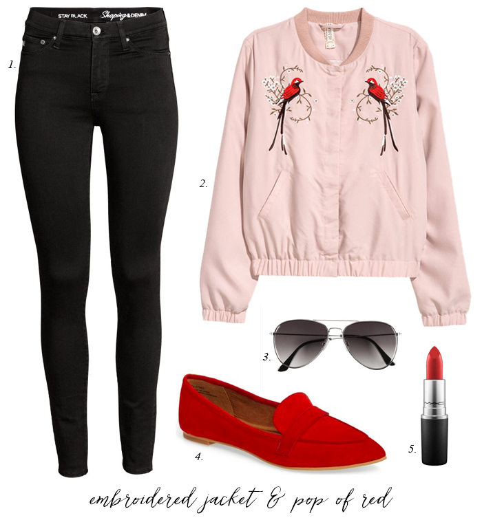 black-skinny-jeans-embroidered-pink-light-jacket-bomber-red-shoe-loafers-sun-howtowear-fashion-style-outfit-spring-summer-weekend.jpg