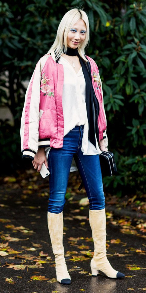 blue-navy-skinny-jeans-black-scarf-skinny-pink-magenta-jacket-bomber-tan-shoe-boots-spring-summer-blonde-lunch.jpg