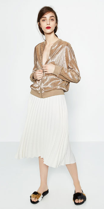 white-midi-skirt-pleated-pony-black-shoe-sandals-slides-tan-jacket-bomber-spring-summer-hairr-lunch.jpg