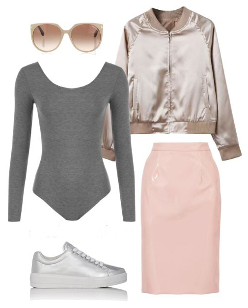 pink-light-pencil-skirt-grayl-tee-bodysuit-tan-jacket-bomber-metallic-gold-sun-silver-gray-shoe-sneakers-spring-summer-lunch.jpg