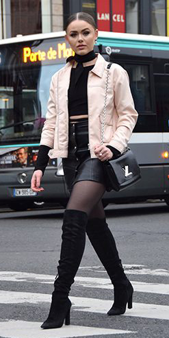 black-mini-skirt-black-tights-tan-jacket-bomber-choker-black-crop-top-black-bag-otk-black-shoe-boots-bun-fall-winter-hairr-lunch.jpg