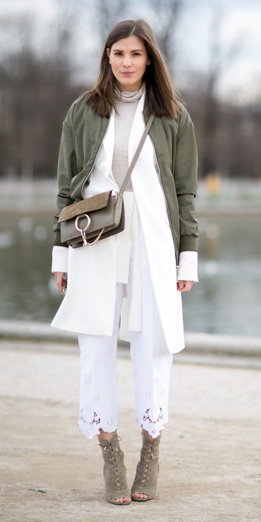 white-culottes-pants-tan-tee-turtleneck-green-bag-white-jacket-coat-green-olive-jacket-bomber-hairr-green-shoe-booties-fall-winter-lunch.jpg