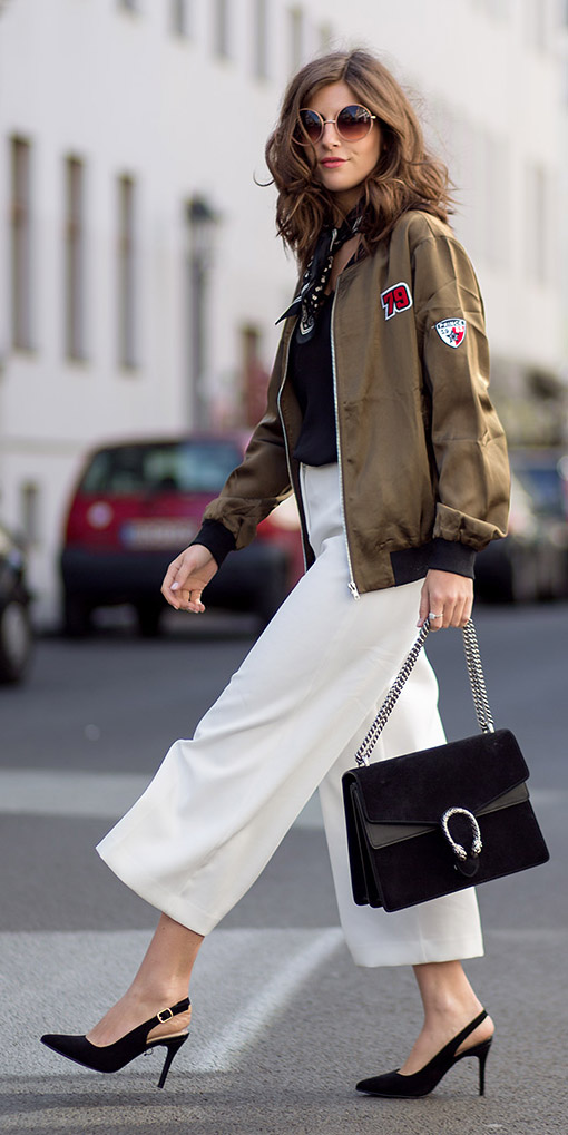 white-culottes-pants-black-tee-black-bag-black-shoe-pumps-slingback-black-scarf-neck-sun-green-olive-jacket-bomber-fall-winter-brun-lunch.jpg