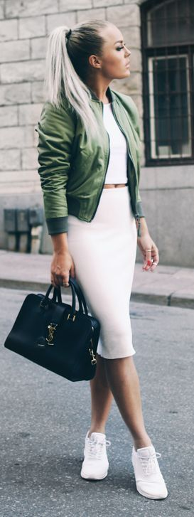 white-pencil-skirt-white-top-crop-white-shoe-sneakers-black-bag-green-olive-jacket-bomber-pony-match-howtowear-fashion-style-outfit-spring-summer-blonde-lunch.jpg