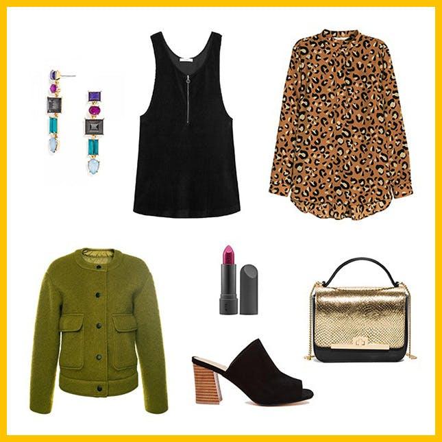 black-dress-jumper-camel-blouse-leopard-print-green-olive-jacket-bomber-black-shoe-sandalh-tan-bag-earrings-fall-winter-dinner.jpg