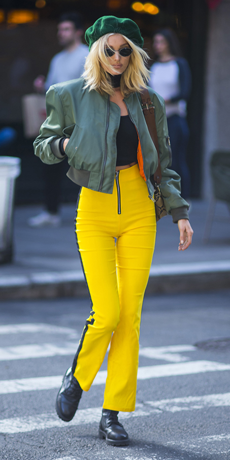 yellow-wideleg-pants-trackpants-black-crop-top-green-olive-jacket-bomber-blonde-hat-beret-sun-black-shoe-booties-elsahosk-fall-winter-lunch.jpg