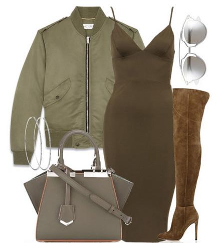 green-olive-dress-bodycon-green-olive-jacket-bomber-cognac-shoe-boots-otk-gray-bag-sun-hoops-fall-winter-dinner.jpg