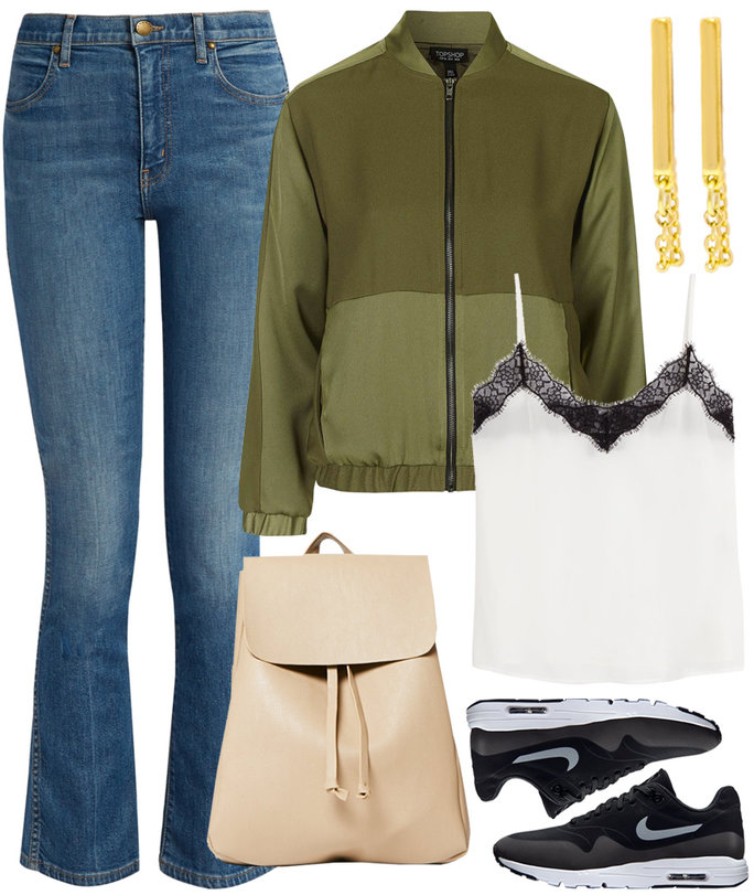 blue-med-flare-jeans-green-olive-jacket-bomber-tan-bag-pack-black-shoe-sneakers-white-cami-fall-winter-weekend.jpg