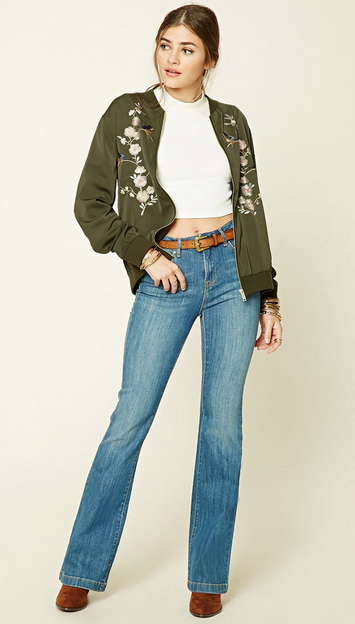 blue-light-flare-jeans-white-top-crop-belt-green-olive-jacket-bomber-pony-cognac-shoe-booties-forever21-howtowear-fashion-style-outfit-spring-summer-hairr-dinner.jpg
