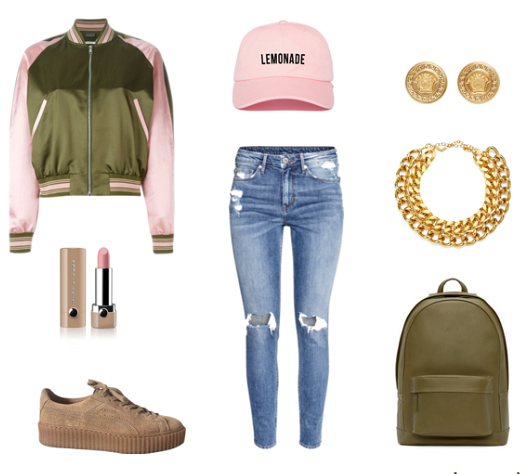 blue-light-skinny-jeans-green-olive-jacket-bomber-hat-cap-tan-shoe-sneakers-green-bag-pack-chain-necklace-studs-howtowear-fashion-style-outfit-spring-summer-weekend.jpg