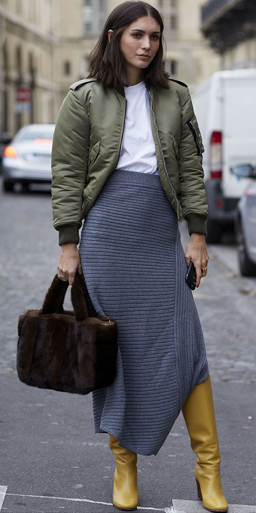 grayd-midi-skirt-white-tee-green-olive-jacket-bomber-brown-bag-fuzzy-tote-yellow-shoe-boots-lob-fall-winter-brun-lunch.jpg
