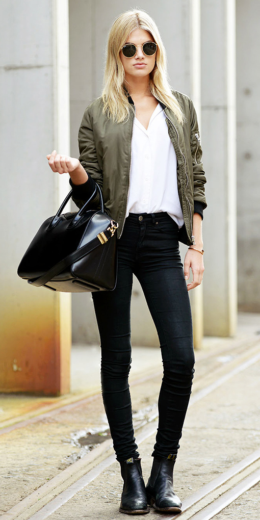 black-skinny-jeans-white-top-blouse-green-olive-jacket-bomber-black-shoe-booties-black-bag-sun-howtowear-fashion-style-outfit-fall-winter-blonde-weekend.jpg
