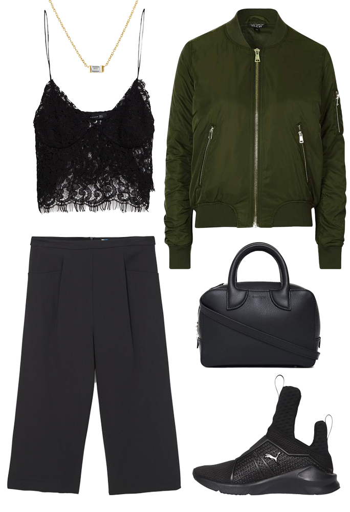 black-culottes-pants-black-shoe-sneakers-black-bag-green-olive-jacket-bomber-lace-black-cami-fall-winter-lunch.jpg