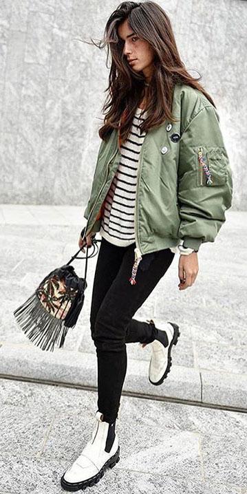 black-skinny-jeans-green-olive-jacket-bomber-white-shoe-booties-black-tee-stripe-fall-winter-brun-weekend.jpg