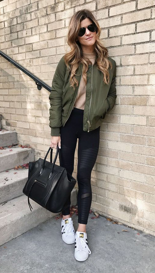 black-leggings-o-tan-sweater-green-olive-jacket-bomber-black-bag-tote-white-shoe-sneakers-sun-howtowear-fashion-style-outfit-spring-summer-hairr-weekend.jpg