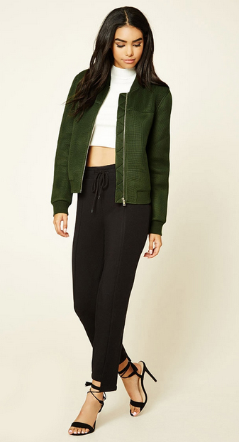 black-joggers-pants-white-top-crop-green-olive-jacket-bomber-black-shoe-sandalh-forever21-howtowear-fashion-style-outfit-spring-summer-brun-dinner.jpg