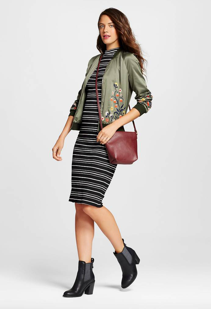 black-dress-zprint-stripe-green-olive-jacket-bomber-black-shoe-booties-red-bag-crossbody-bodycon-stripes-wear-style-fashion-fall-winter-trend-outfit-brunette-lunch.jpg