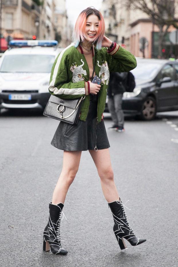 black-mini-skirt-o-tan-sweater-green-olive-jacket-bomber-black-bag-wear-style-fashion-fall-winter-black-shoe-booties-night-out-hairr-dinner.jpg