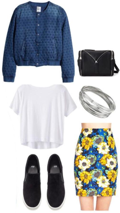 yellow-mini-skirt-white-tee-blue-med-jacket-bomber-wear-style-fashion-spring-summer-denim-floral-black-shoe-sneakers-black-bag-lunch.jpg