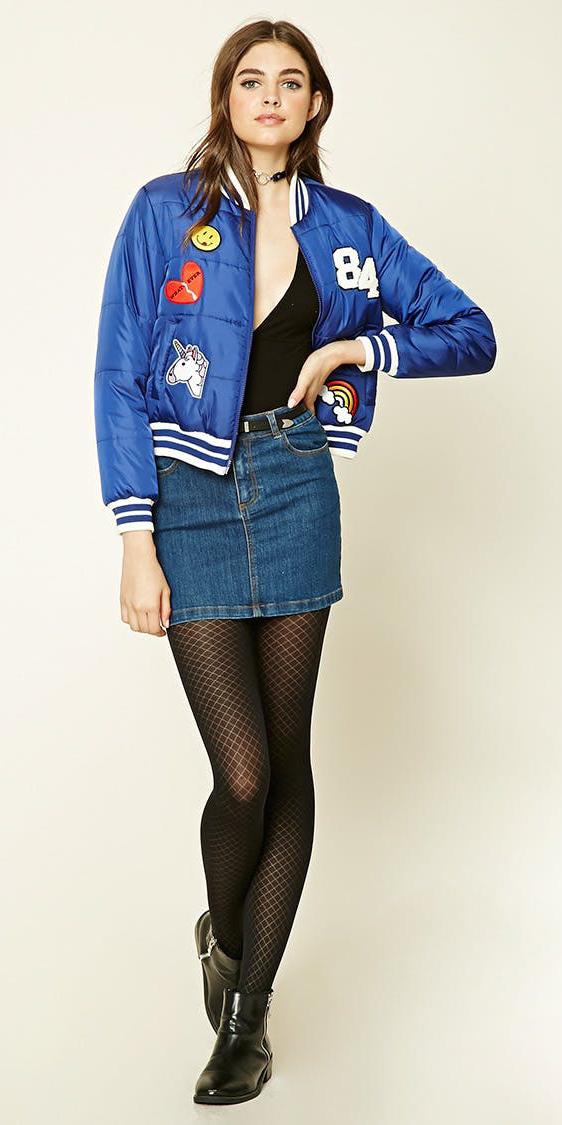 blue-navy-mini-skirt-denim-black-tee-bodysuit-black-tights-blue-med-jacket-bomber-choker-cobalt-fall-winter-hairr-lunch.jpg