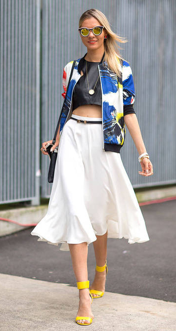 white-midi-skirt-black-top-crop-blue-navy-jacket-bomber-print-black-bag-necklace-sun-yellow-shoe-sandalh-howtowear-fashion-style-outfit-spring-summer-blonde-dinner.jpg