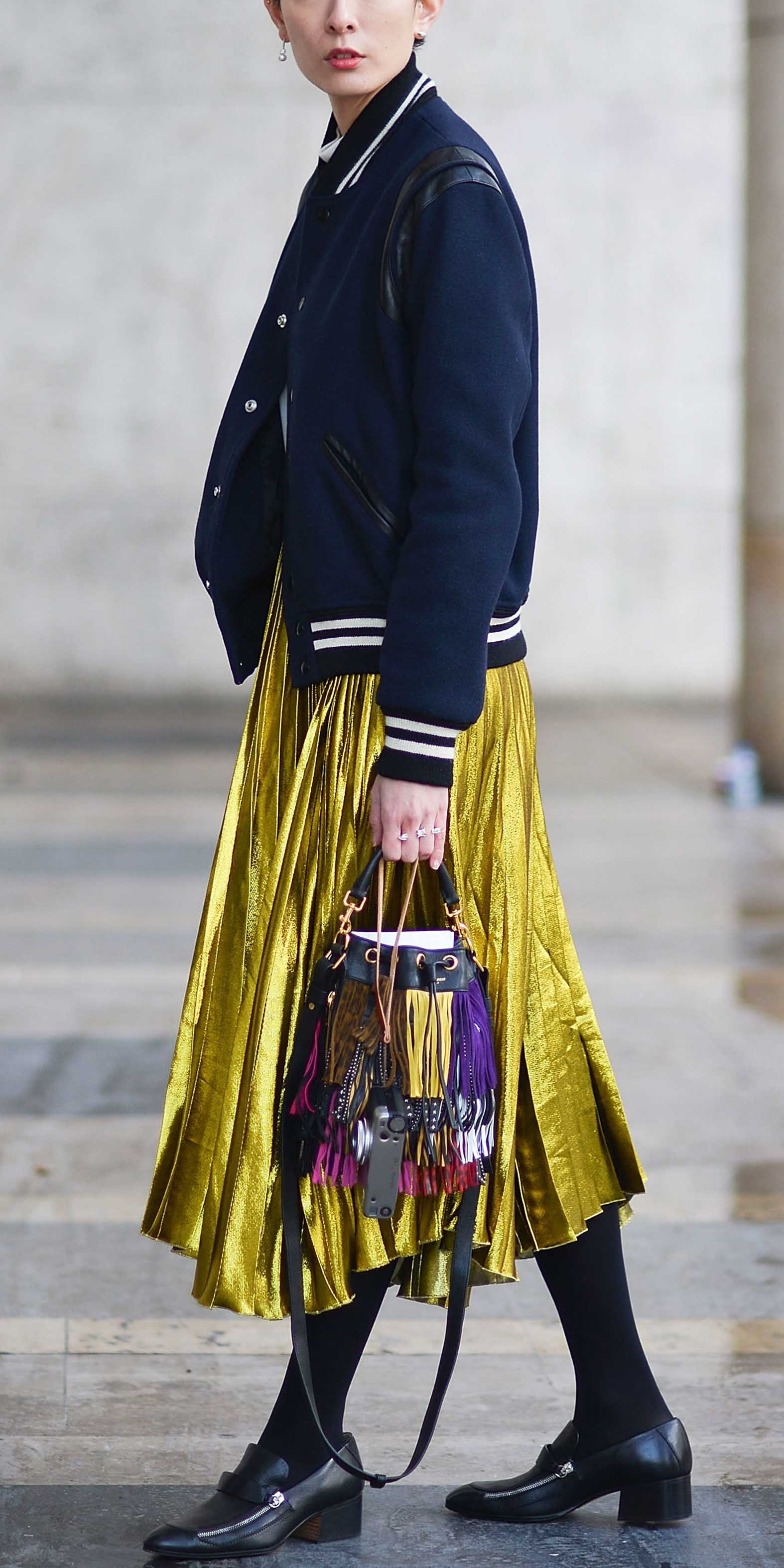 yellow-midi-skirt-pleated-metallic-blue-navy-jacket-bomber-black-tights-black-shoe-loafers-fall-winter-lunch.jpg