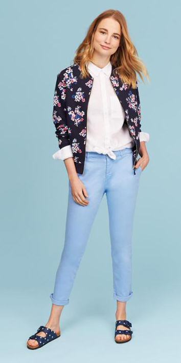 blue-light-chino-pants-white-collared-shirt-blue-navy-jacket-bomber-floral-print-blue-shoe-sandals-spring-summer-weekend.jpg