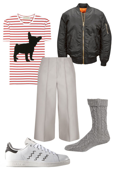 white-culottes-pants-red-tee-stripe-black-jacket-bomber-howtowear-fashion-style-outfit-fall-winter-basic-white-shoe-sneakers-socks-weekend.jpg