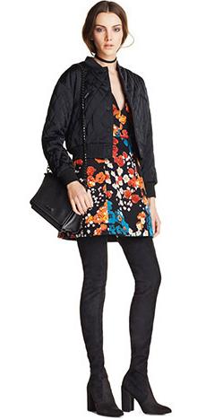 orange-dress-print-floral-black-jacket-bomber-black-shoe-boots-black-bag-black-tights-mini-fall-winter-choker-hairr-dinner.jpg