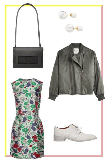 green-emerald-dress-mini-floral-print-white-shoe-brogues-black-jacket-bomber-black-bag-studs-fall-winter-weekend.jpg