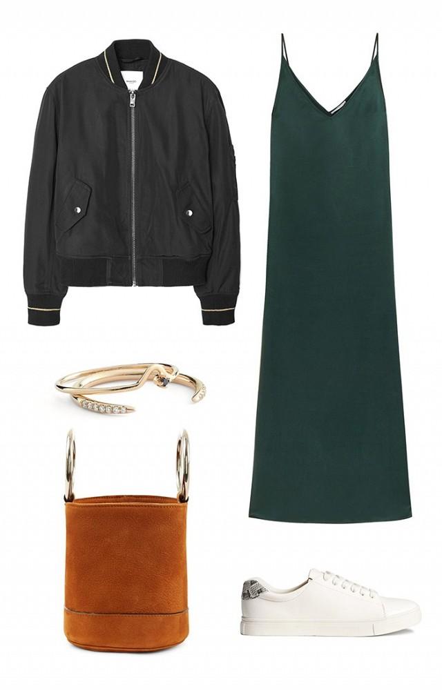 green-dark-dress-white-shoe-sneakers-cognac-bag-bracelet-slip-black-jacket-bomber-howtowear-fashion-style-outfit-spring-summer-lunch.jpg