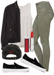 green-olive-skinny-jeans-white-tee-black-jacket-bomber-white-shoe-sneakers-hat-cap-howtowear-fashion-style-outfit-fall-winter-weekend.jpg