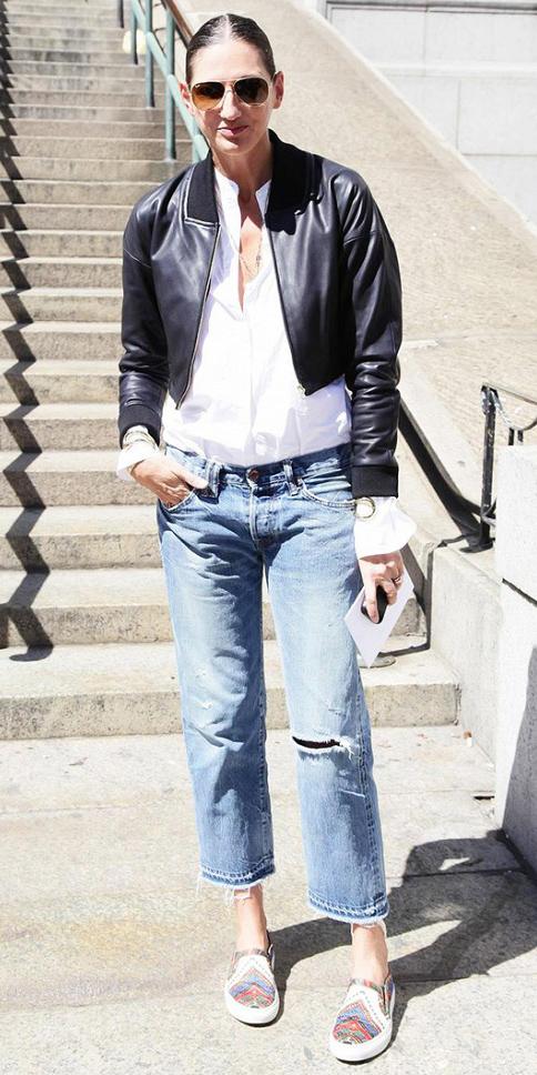 blue-med-boyfriend-jeans-white-collared-shirt-bun-brun-sun-wear-spring-summer-outfit-black-jacket-bomber-jcrew-lunch.jpg