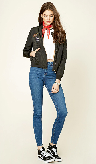 blue-med-skinny-jeans-white-tee-crop-black-jacket-bomber-wear-outfit-fashion-fall-winter-black-shoe-sneakers-forever21-bandana-red-scarf-neck-brun-weekend.jpg