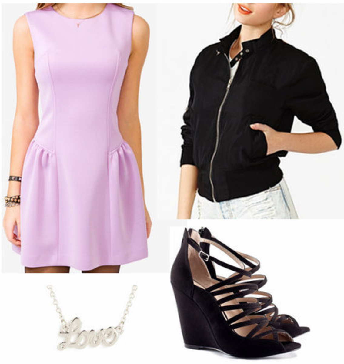 purple-light-dress-lavender-black-jacket-bomber-black-shoe-sandalw-necklace-howtowear-fashion-style-outfit-spring-summer-dinner.jpg