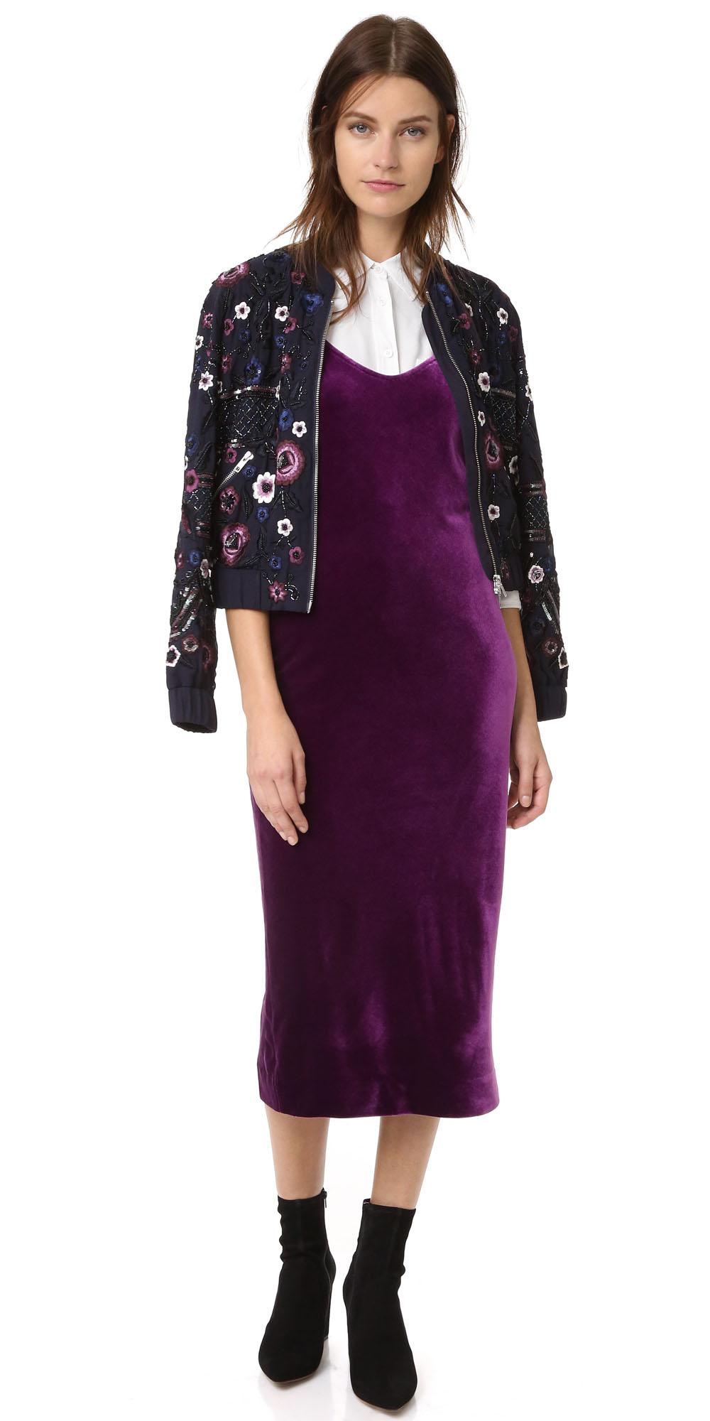 purple-royal-dress-slip-white-collared-shirt-black-jacket-bomber-black-shoe-booties-howtowear-fall-winter-hairr-lunch.jpg