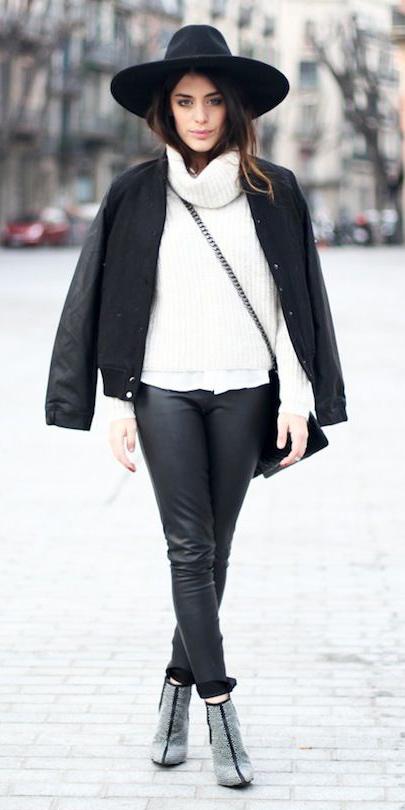 how-to-style-black-skinny-jeans-white-sweater-turtleneck-black-bag-black-jacket-bomber-hairr-hat-fall-winter-fashion-lunch.jpg