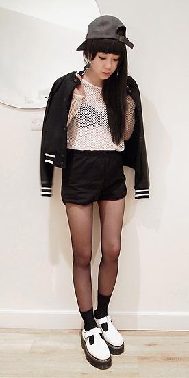 black-shorts-white-top-sheer-mesh-black-bralette-hat-cap-black-jacket-bomber-socks-black-tights-white-shoe-brogues-fall-winter-brun-weekend.jpg