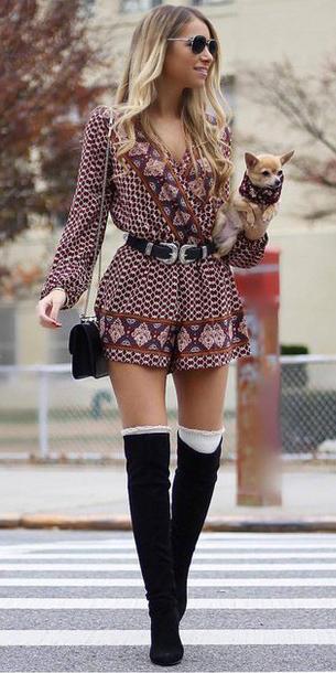 burgundy-jumper-romper-print-belt-blonde-sun-black-bag-socks-black-shoe-boots-fall-winter-lunch.jpg