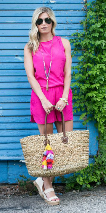 pink-magenta-jumper-romper-tan-bag-straw-tote-sun-necklace-blonde-white-shoe-sandalw-spring-summer-weekend.jpg