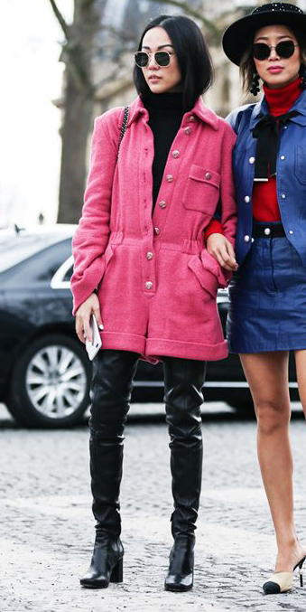pink-magenta-jumper-romper-black-sweater-turtleneck-brun-sun-black-shoe-boots-otk-fall-winter-lunch.jpg