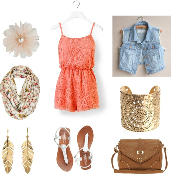 orange-jumper-romper-blue-light-vest-jean-cognac-bag-white-shoe-sandals-earrings-bracelet-spring-summer-weekend.jpg