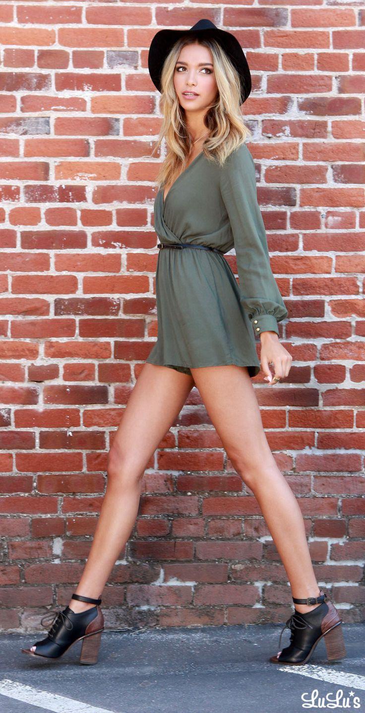 green-olive-jumper-romper-skinny-belt-hat-blonde-black-shoe-booties-spring-summer-lunch.jpg