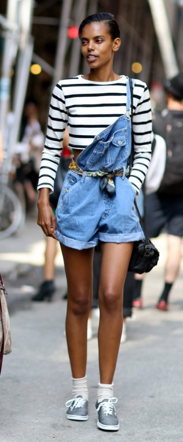 blue-med-jumper-black-tee-stripe-gray-shoe-sneakers-socks-overalls-black-bag-brun-bun-howtowear-fashionstyle-oufit-spring-summer-weekend.jpg